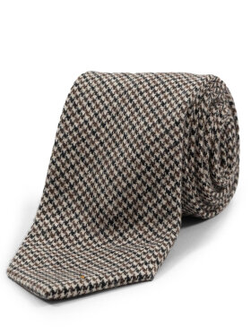 AN IVY - Brown Houndstooth Wool Ties